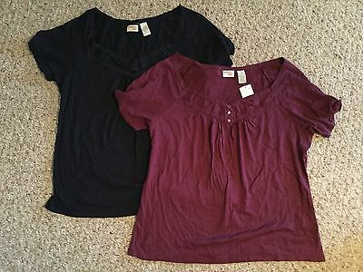 Lot of 2 Womens Jamaica Bay Shirt Large V Neck Tee Top Purple Navy Blue New