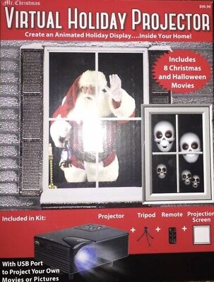 Mr. Christmas Virtual Holiday Projector w/Tripod Remote Projection Screen window