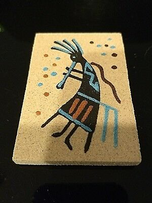 Native American Indian Authentic Navajo Magnetic  Sandpainting Signed #Flute141