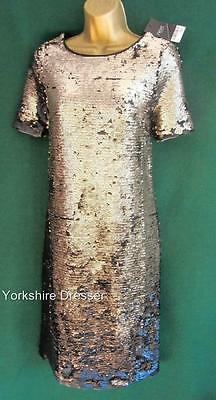 New NEXT Uk 6 8 Black /& Antique Silver SEQUIN Two-Tone Party Evening Shift Dress