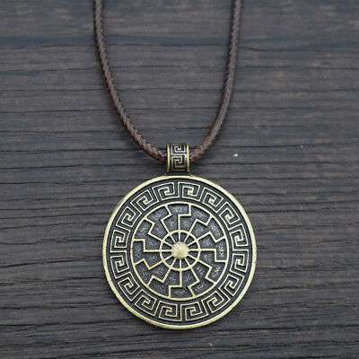 Viking Sun Norse Amulet Pendant Necklace Nordic Symbol Jewelry Medieval Vegvisir