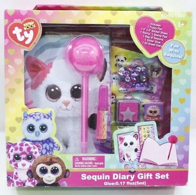 1ab48bfcaf9 NICKELODEON TY Beanie Boos Sequin Diary Gift Set - Brand New - Free Shipping