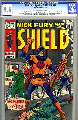 Nick Fury, SHIELD #15 CGC GRADED 9.6 -second highest -1st and death of Bullseye