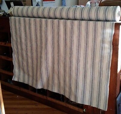 french farmhouse country primitive woven linen ticking BTY fabric blue stripe