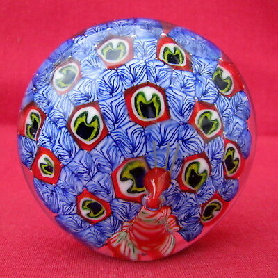 Sulfure Presse Papier Forme Paon / Art Glass Paperweight