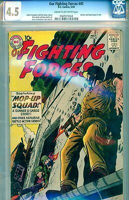 Our Fighting Forces #45 CGC GRADED 4.5 - first Gunner & Sarge (1959)