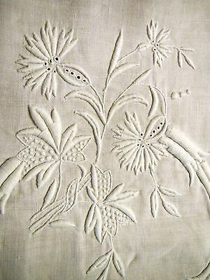 Vintage French Linen Sheet White Embroidered Flowers Leaf G C Monogram Antique