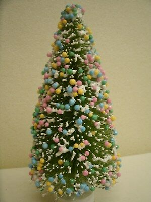 """6"""" Candy Coated Frosted GREEN Sisal Bottle Brush Tree Easter Christmas Everyday"""