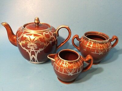 Vintage Art Nouveau Ceramic Teapot Cream & Sugar with Silver Overlay