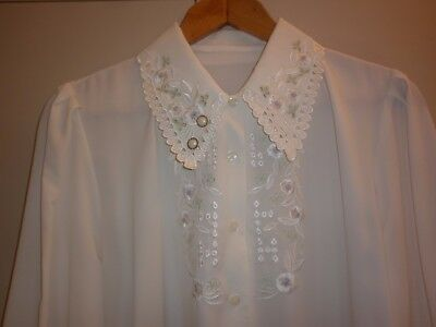 Vintage Womens Soft Embroidered  Size 14  Cream Blouse In Excellent Condition