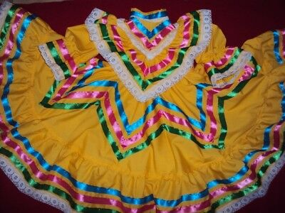 Mexican Folkloric Jalisco Style Yellow Dress,2-3T