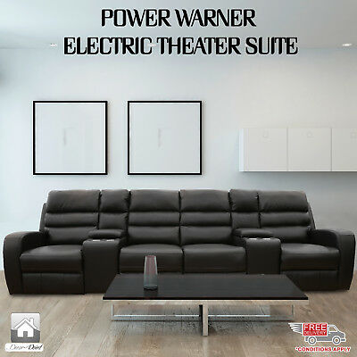 New Luxury Leather Air 4 Seater Power Warner Electric Recliners, Black Color