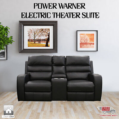 New Luxury Leather Air 2 Seater Power Warner Electric Recliners, Black Color