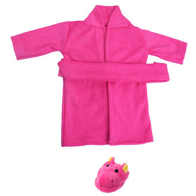 Pajamas Nightgown + Hippo Slippers Shoes for 18'' American Girl My Life Doll