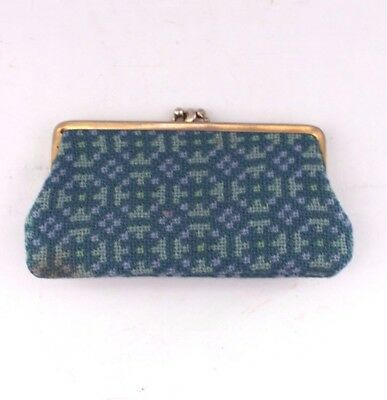 Purse Welsh wool tapestry fabric Blue 2 sections   Vintage B41