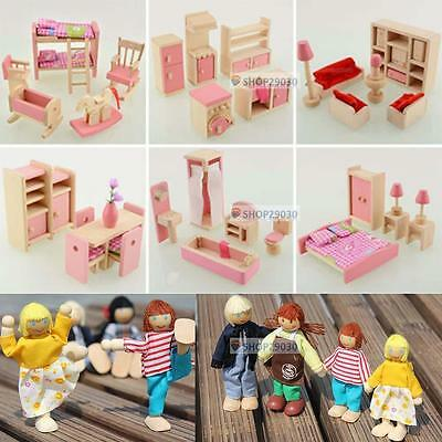 Wooden Dolls House Furniture Miniature 6 Room For Kids Children Toy Gifts Hot BE