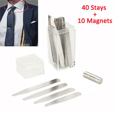 40 Metal Collar Stays + 10 Magnets For Men Shirt 4 Various Sizes Stainless Steel