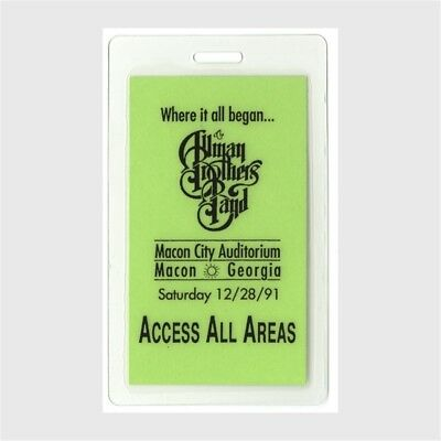 Allman Brothers authentic 1991 concert Laminated Backstage Pass Macon City AA