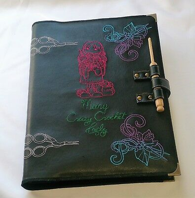 Crochet Pattern Folder / Binder with Personalised Embroidered Faux Leather Cover