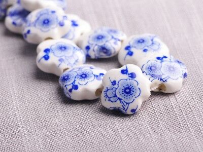 NEW 10pcs 15X6mm Ceramic Flower Shape Spacer Loose Beads Findings Pattern  #10