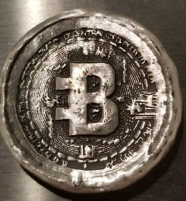 Bitcoin 1 oz .999 silver hand poured commemorative crypto currency BTC