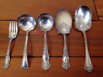 Mixed Lot 5 Vintage Silverplate Serving Spoons Ladles Fork Rockford Rogers AA
