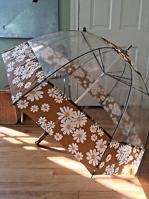 Vintage Big Clear Dome Umbrella w/ Daisies HAAS JORDAN OHIO made USA
