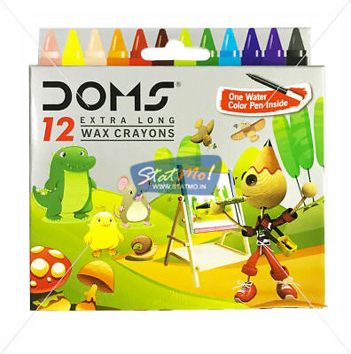 Doms 12 Extra Long Wax Crayons Colour FOR KIDS One Water Colour Pen Inside