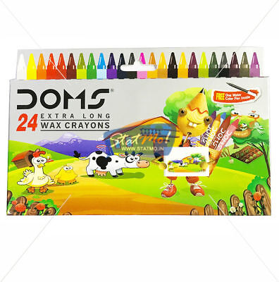 FOR KIDS Doms 24 Extra Long Wax Crayons FOR DRAWING One Water Colour Pen Inside