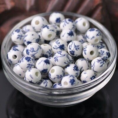 NEW 20pcs 10mm Round Smooth Ceramic Loose Spacer Beads Flower Pattern #23