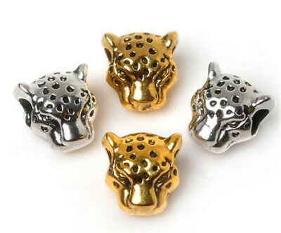 50Pcs Silver & Gold Big-Hole leopard Head Spacer Beads Crafts Jewelry Making DIY