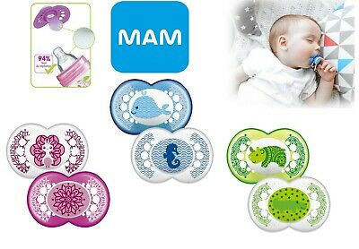 Baby Soother Dummy Pacifier Teat Nipple 6m+ 2 Pack Boy / Girl Mam Clear