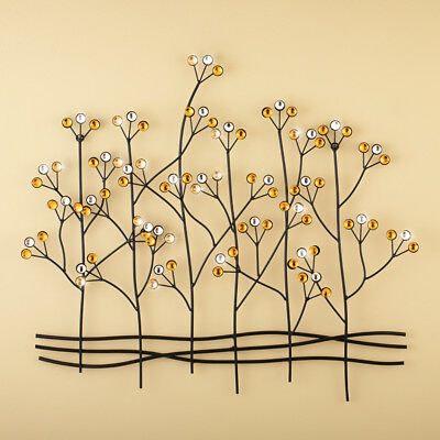 WILLOW MULTI COLOR Metal Glass Tree Wall Sculpture Decor Art Hanging ...