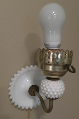 VINTAGE White Milk Glass Hobnail Bead Edge Wall Sconce Light Fixture with Cord