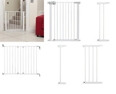 Baby Infant Safety Stair Wall Metal Gate Simply Close Adjustable Extension