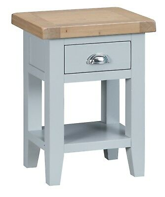 Elegance Oak Side Table-Grey Painted-Occasional Sofa Lamp End Unit-In Stock