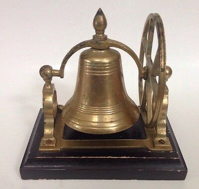 Vintage Brass Bell On Wood Mount Ship School Hotel Dinner Bell