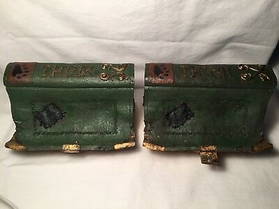 PAIR of Boyds Bears Resin LIBRARY BOOK WALL SCONCE Resin Folkstone Decor 65427