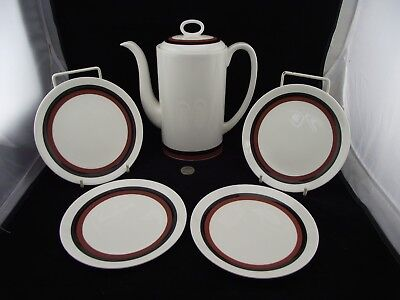 "Wedgwood Susie Cooper Designs Indian Summer 9"" Tall Coffee Pot  With 4 Plates"