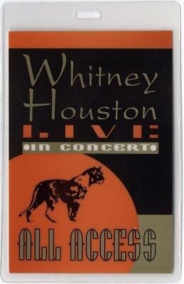 Whitney Houston authentic 1996 concert tour Laminated Backstage Pass ALL ACCESS