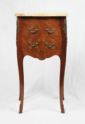 Antique French Louis XV Inlaid Marble Top Nightstand, early 1900s
