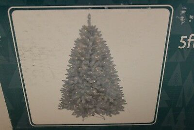 Christmas Tree 5 FT PRE-LIT White and Silver Tinsel Frasier 250 Clear Lights