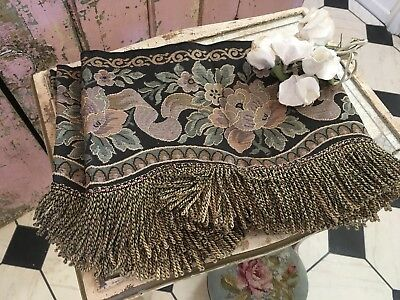 Pair of Antique Victorian curtain Valances fringed tapestry Romantic Chic