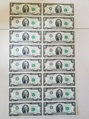 Uncut 1976 Sheet of 16 US 2 Dollars Uncirculated Bicentennial with BONUS*