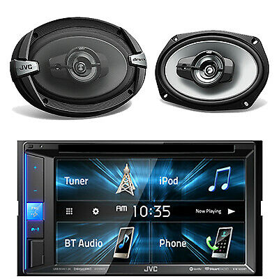 "JVC Double DIN Bluetooth DVD CD Touch Screen Radio, 500W 6x9"" JVC Car Speakers"