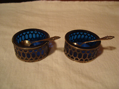 Epo, Sterling Silver Salt Cellars With Sterling Spoons