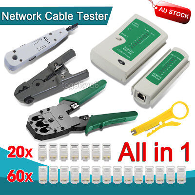 Network Cable Tool Kit LAN Tester Crimper Punch Down Wire Stripper Cat 5 6 RJ45