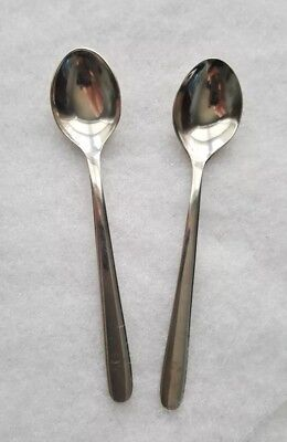 KLM Royal Dutch Airline 2 Coffee Demitasse Spoons SOLA Stainless Steel