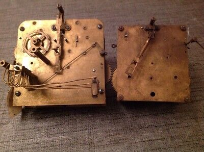 Antique Clock Movements X 2 FHS + Other Untested For Spare Parts Repair