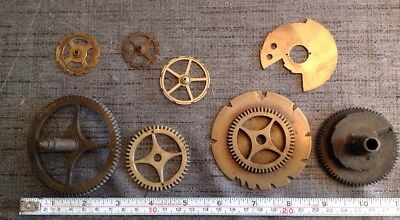 Antique Clock Cogs Chime Wheels Clockmakers Selection From spare Parts Chest